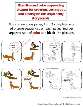 The Fox and the Crow Aesop's Fable Sequencing and Writing Activities