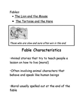 Fables: The Lion and the Mouse Reader's Theater and Assessment