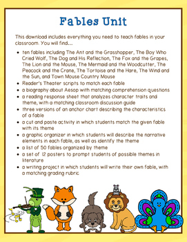 Fables Unit: Passages, Comprehension, Anchor Charts, & Readers Theater Scripts