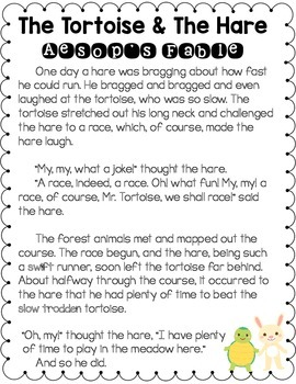 Fables Unit:  Literacy Activities--Reader's Theaters Included