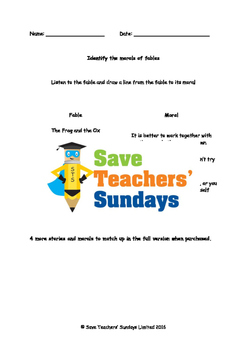 Fables and their Morals worksheets and audio stories (2 levels of difficulty)