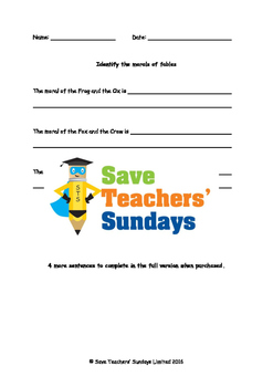 Fables and their Morals worksheets and audio stories (2 le