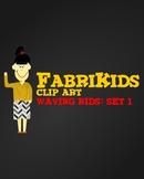 FabriKids Waving Clip Art Set 1 - Kids and Students Waving
