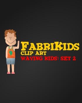 FabriKids Waving Clip Art Set 2 - Kids and Students Waving