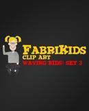 FabriKids Waving Clip Art Set 3 - Kids and Students Waving