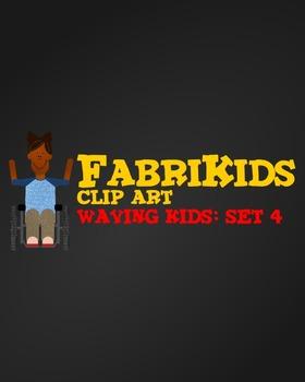 FabriKids Waving Clip Art Set 4 - Kids and Students Waving