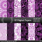 Fabric Album Collag Card Instant Download Ornate A4 Textil
