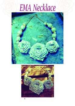 Fabric Necklace EMA Roses & Beads Fun & Easy Pattern