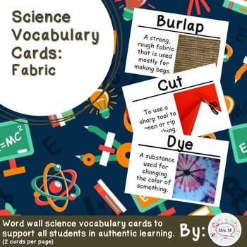 Fabric Science Vocabulary Cards Large
