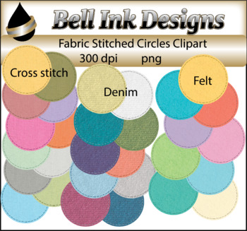 Fabric Stitched Circles Clipart