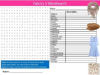 Fabrics #1 Wordsearch Puzzle Sheet Starter Activity Keywords Textiles Design