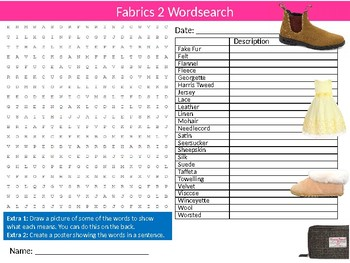 Fabrics #2 Wordsearch Puzzle Sheet Starter Activity Keywords Textiles Design