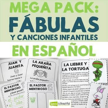 Fábulas y canciones infantiles - Mega Pack: Story Retell & Describing in Spanish