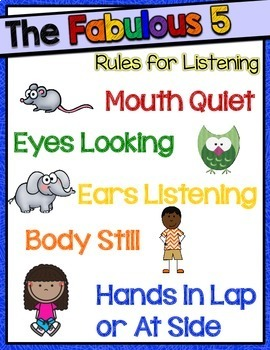 Fabulous 5 Rules for Listening Chart