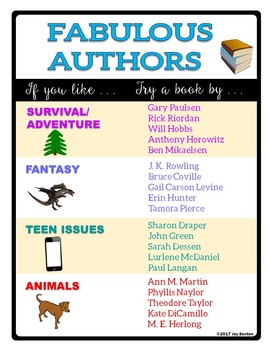 Fabulous Authors Classroom Posters - Free Independent Reading Posters