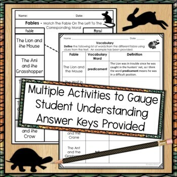 Fables Lesson Plan, Multiple Activities and More
