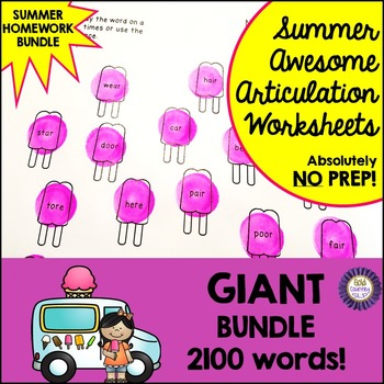 Summer Homework Bundle Awesome Articulation Worksheets 2100 Words