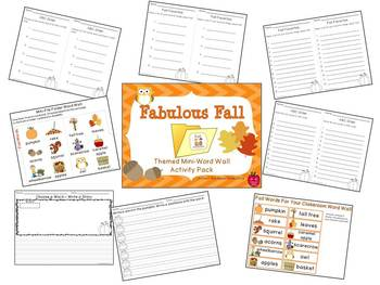 Fabulous Fall Mini-Word Wall Activity Pack