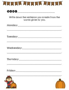 Fabulous Fall Sentence Scramble {Morning Learning}