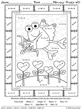 Fabulous February Fun ~ Winter Math Printables Color By ...