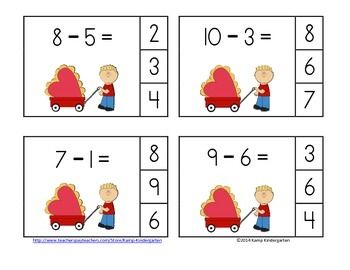 Fabulous February Subtraction Math Centers (Minuends to 10)