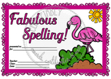 Fabulous Flamingo Spelling Award