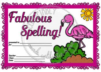 Fabulous Flamingo Spelling Award