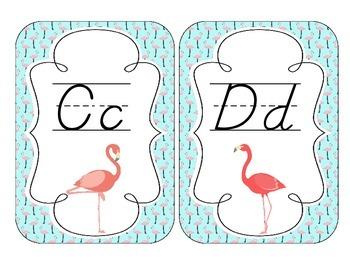 Fabulous Flamingos Alphabet Cards: D'Nealian Set