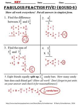 Fraction Assessments: Adding, Subtracting, Multiplying, Dividing Fractions Tests