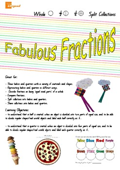 Fabulous Fractions - half, halves, 1/2, quarters 1/4