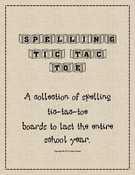 Fabulous Spelling Tic-Tac-Toe Boards