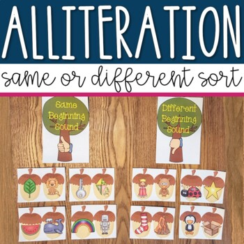 Fall Alliteration Sorting Center Activity for Pre-k and Kindergarten