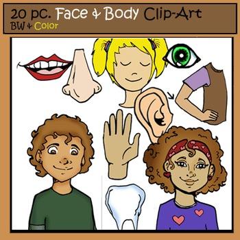 Face & Body Clip-Art Set: 10 B&W, 10 Color