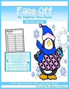 Face Off 2 or 3 Dice Addition Game Winter Edition