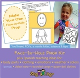 Face-in-Hole Prop Kit -- Spanish: colors, body, clothes, weather, feelings