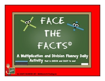 Multiplication and Division Fluency Daily Activity: Face t