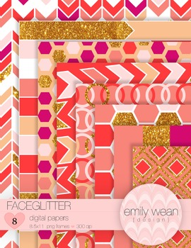 FaceGlitter Digital Papers