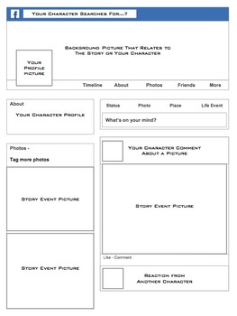 Facebook 2014 Character Study Profile Pages (Includes Instructions)