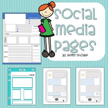 Social Media - Facebook, Blog, and Texting Screen Templates