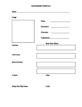 Facebook Characterization Exercise Graphic Organizer Hando