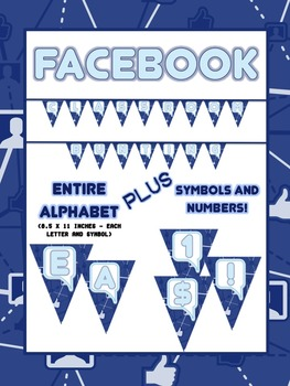 Facebook Classroom Bunting SET - 26 Capital Letters, 10 Numbers and Symbols