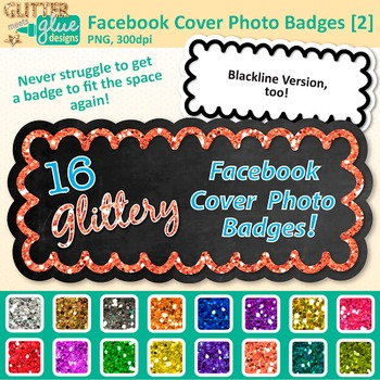 Facebook Cover Photo Frame Clip Art {Rainbow Glitter Chalkboard Labels} 2