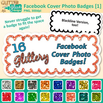 Facebook Cover Photo Frame Clip Art {Rainbow Glitter Labels for Social Media} 1