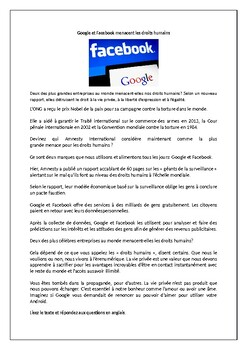 Facebook  / Google / Technology / Privacy / Human rights