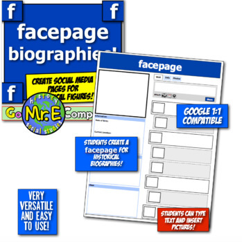 Facepage Biographies! Students make Facepages for historical figures! Tech!
