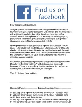 Facebook Parent Note & Permission Slip