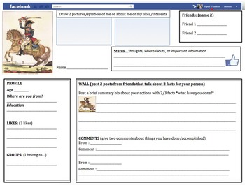 Facebook Profile Activity - Adaptable for any important historical figure