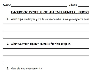 Facebook Profile Project/ Informational Writing/ Research