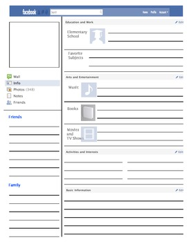 facebook profile template by vanessa bingham teachers pay teachers