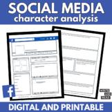 Facebook Social Media Profile | Digital and Printable Character Analysis